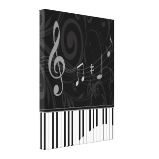 Whimsical Piano and Musical Notes Stretched Canvas Prints
