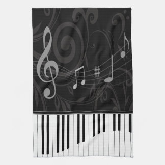 Whimsical Piano and Musical Notes Tea Towel