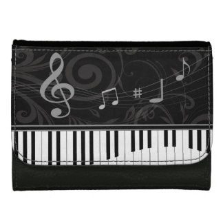 Whimsical Piano and Musical Notes Women's Wallets