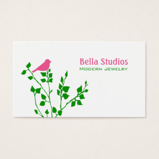 Whimsical Pink and Green Bird Business Card
