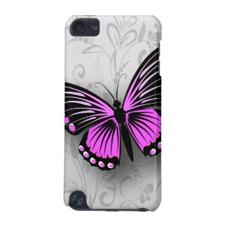 Whimsical Pink Butterfly on Gray Floral iPod Touch (5th Generation) Case