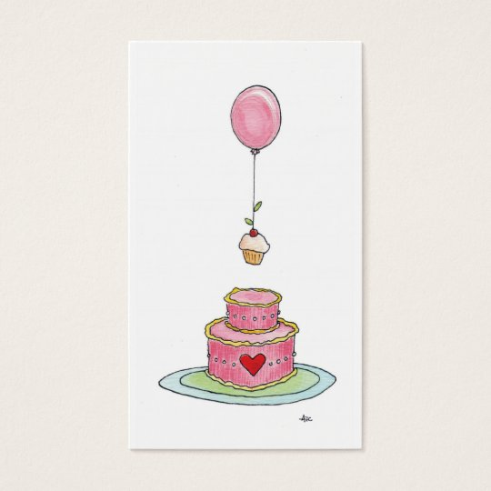 Whimsical Pink Cake Balloon & Cupcake Business Card