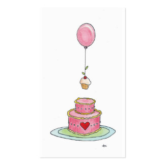 Whimsical Pink Cake Balloon  & Cupcake Business Card Template