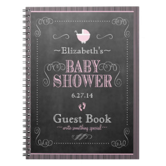 Whimsical Pink Chalkboard Baby Shower Guestbook Notebook