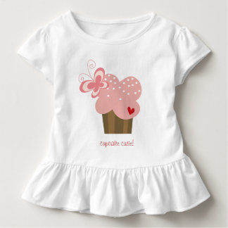 Whimsical Pink Cupcake Butterfly Girl Birthday Toddler T-Shirt
