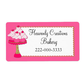 Whimsical Pink Cupcakes Custom Bakery Label Shipping Label