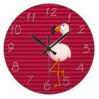 Whimsical Pink Flamingo Clock