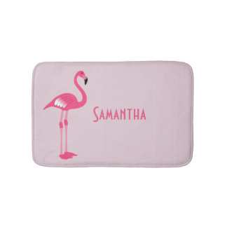 Whimsical Pink Flamingo Custom Bath Mat Bath Mats