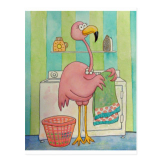 Whimsical Pink Flamingo Does Laundry Cute Postcard