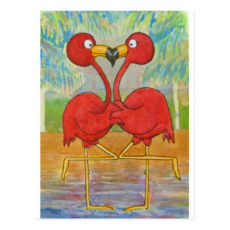 Whimsical Pink Flamingo Pair on Beach Island Art Postcard