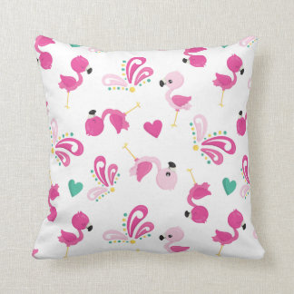 Whimsical Pink Flamingo Pattern Cushion