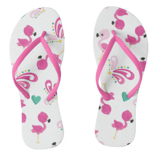 Whimsical Pink Flamingo Pattern Flip Flops