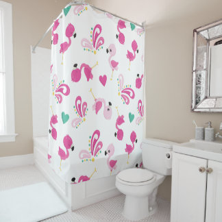 Whimsical Pink Flamingo Pattern Shower Curtain