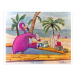 Whimsical Pink Flamingo Pours Party Drinks Beach