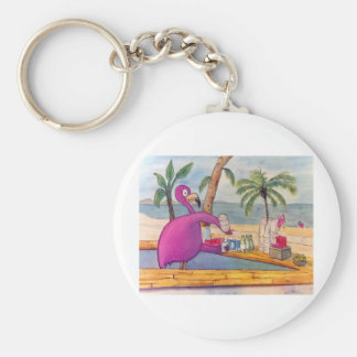 Whimsical Pink Flamingo Pours Party Drinks Beach Basic Round Button Key Ring