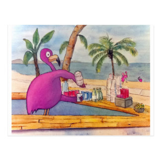 Whimsical Pink Flamingo Pours Party Drinks Beach Postcard