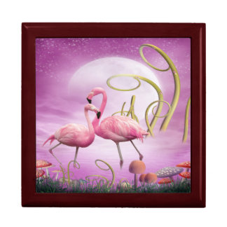 Whimsical Pink Flamingos Jewelry Gift Box
