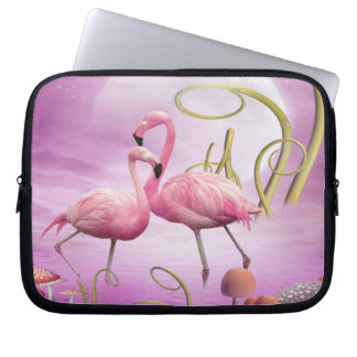 Whimsical Pink Flamingos Laptop Sleeve