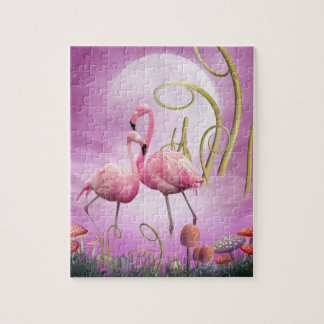 Whimsical Pink Flamingos Puzzle