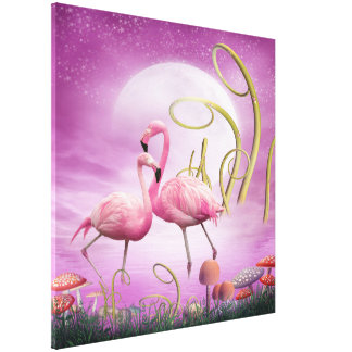 Whimsical Pink Flamingos Wrapped Canvas Stretched Canvas Prints