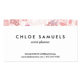 Whimsical Pink Floral Bird Print Girly Blush Pink Pack Of Standard Business Cards
