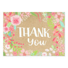 Whimsical Pink Floral Wreath Kraft Paper Thank You Card