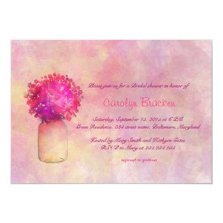 Whimsical Pink Flower/Masonjar Bridal Shower card 13 Cm X 18 Cm Invitation Card