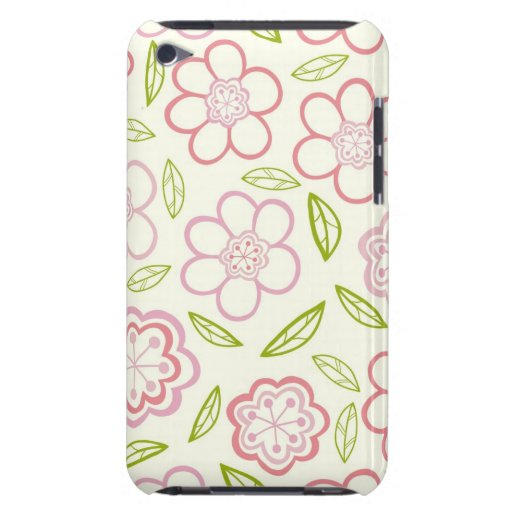 Whimsical Pink Flowers Design iPod Case-Mate Cases