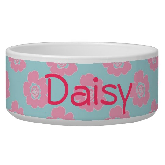 Whimsical Pink Flowers Pet Bowls