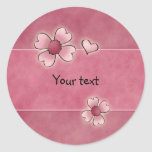 Whimsical pink flowers round stickers