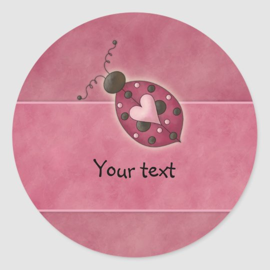 Whimsical pink heart bug classic round sticker