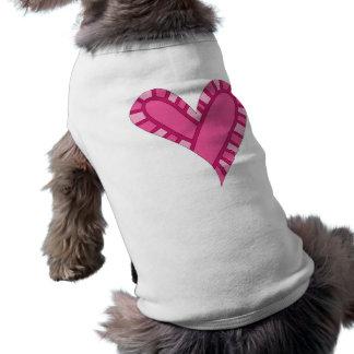 Whimsical pink heart doodle sleeveless dog shirt