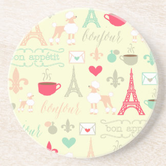 Whimsical Pink Paris Coaster