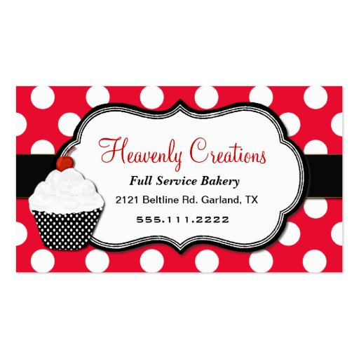 Whimsical Polka Dot Cupcake Bakery Business Card