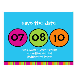 Whimsical Polka Dots Save the Date Postcard