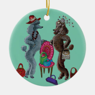 Whimsical Poodle Christmas Ornament