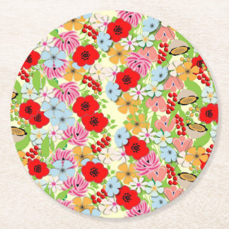 Whimsical Pretty Wild Flowers Floral Print Round Paper Coaster