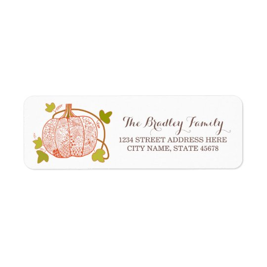 Whimsical Pumpkin Address Labels