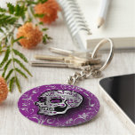Whimsical Purple and Silver Sugar Skull Basic Round Button Key Ring