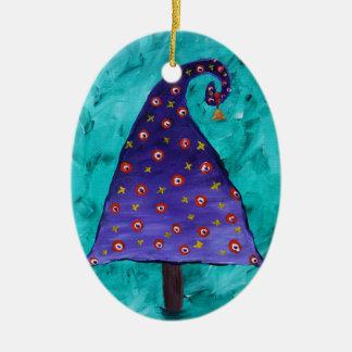 Whimsical Purple Christmas Tree Custom Christmas Ornament