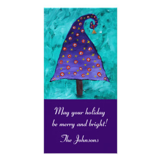 Whimsical Purple Christmas Tree Photo Card Template