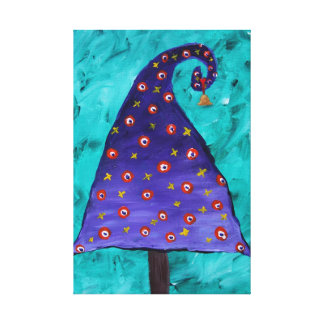 Whimsical Purple Christmas Tree Stretched Canvas Print