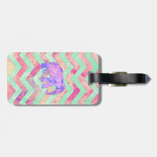 Whimsical Purple Elephant Mint Green Pink Chevron Luggage Tag