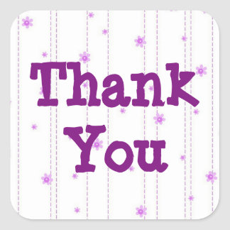 Whimsical Purple Flowers Thank You Sticker