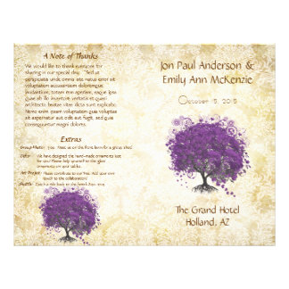 Whimsical Purple Heart Leaf Tree Wedding Program 21.5 Cm X 28 Cm Flyer