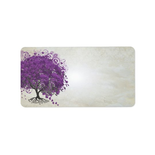 Whimsical Purple Heart Leafed Tree Label