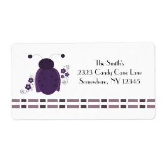 Whimsical Purple Ladybug Shipping Label