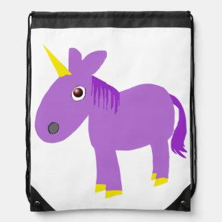 whimsical purple unicorn drawstring backpack