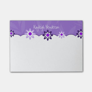 Whimsical Purple White Flowers Personalized Post-it® Notes