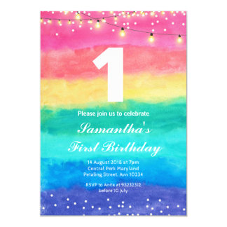 Whimsical Rainbow Birthday Invitation